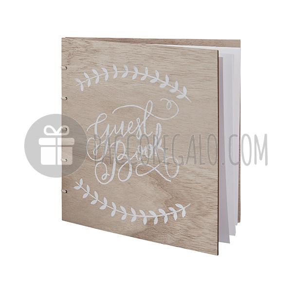 Guestbook boho in legno con scritta calligrafica 32 pagine for Scritta home in legno