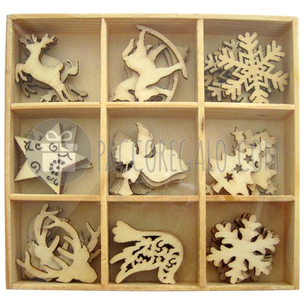 Decorazioni no l in legno con scatolina di legno 45pz - Decorazioni in legno ...
