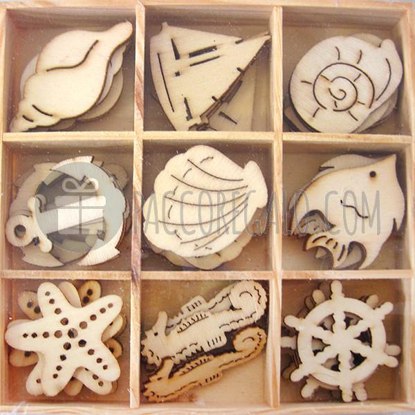Decorazioni mare in legno con scatolina di legno 45pz for Decorazioni autoadesive
