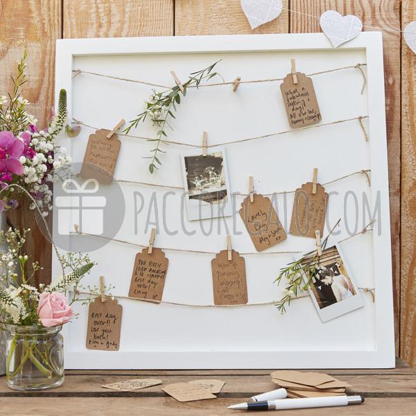Tableau Matrimonio In Legno : Cornice in legno quot tableau guestbook con mollette