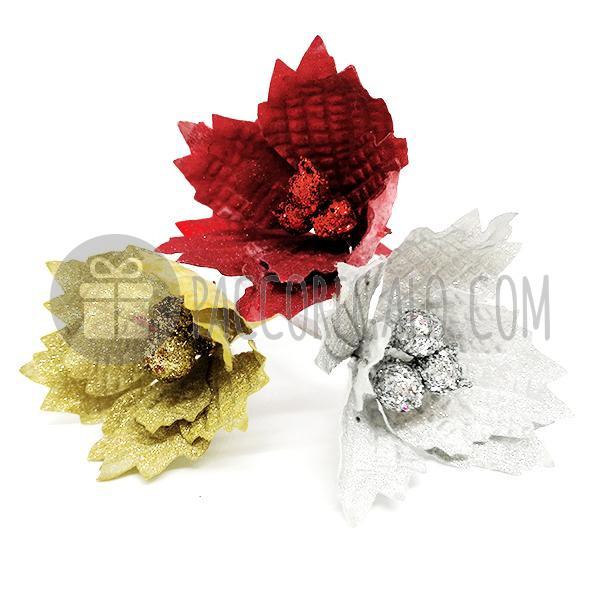Immagini Stella Di Natale Glitter.Pick Decorativo Fiore Glitter Stella Di Natale