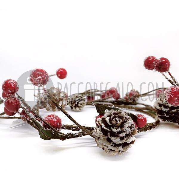 Coroncina portacandela con Rose e Bacche Bianche 13cm