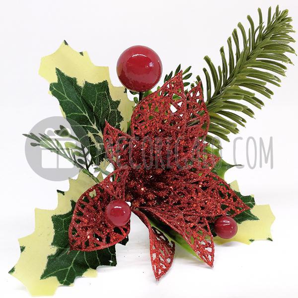 Immagini Natale Glitter.Maxi Pick Stella Di Natale Glitter Con Bacche E Agrifoglio