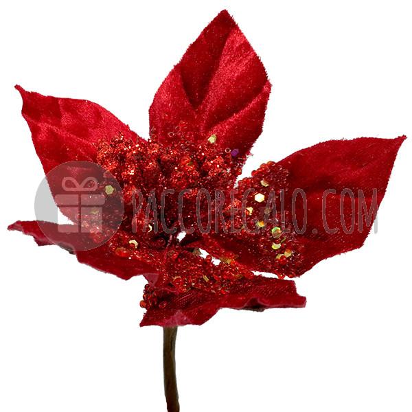 Immagini Stella Di Natale Glitter.Maxi Pick Stella Di Natale Glitterata In Velluto Rosso