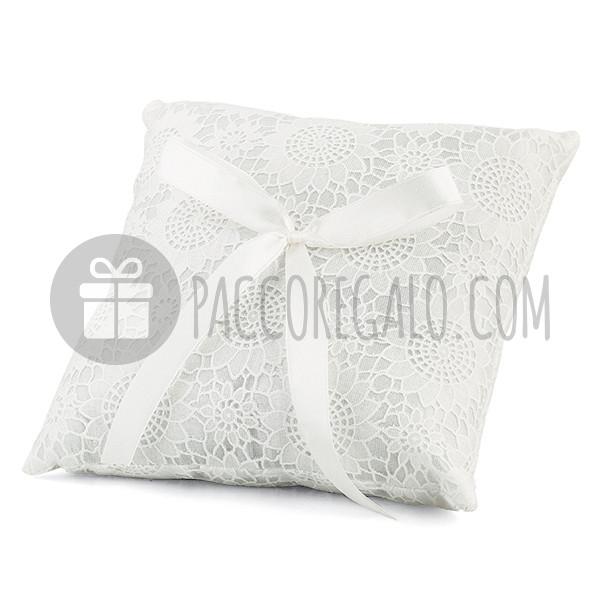 Cuscino Portafedi Bianco E Blu.Cuscino Porta Fedi Pizzo Fiorato Bianco Quadrato