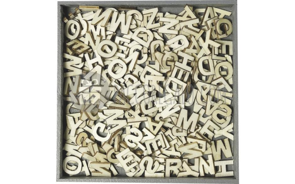 Decorazioni alfabeto in legno con scatolina di legno 250pz for Decorazioni autoadesive