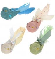 Set coppia di uccellini in tessuto con clip (cm 17)