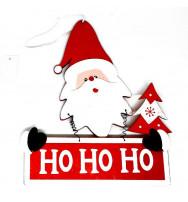 "Decoro da porta in legno ""Babbo Natale HO HO HO"""