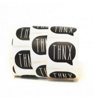 """Etichette quadrate con fumetto """"THNX"""" cm 4x4 (10pz)"""