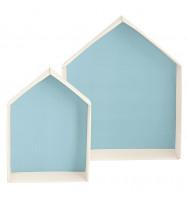 Casetta in cartone con fondo azzurro_ due dimensioni