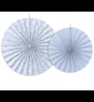 Festone Rosetta decorativa in carta grigio perla - set da 2 pezzi