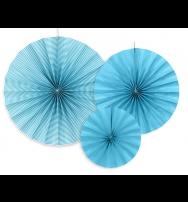 Festone Rosetta in carta - Set da 3 pezzi - Colore Azzurro