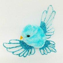 Set coppia di uccellini con clip in velluto azzurro (cm 6)-21