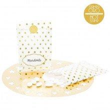 Sacchetti in carta Bianca con decorazioni Pois Oro (pz.8)