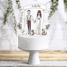 "Cake topper ""Lovely Day"" con soggetti in carta"