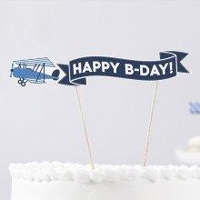 """Cake topper """"LITTLE PLANE"""" azzurro e blu"""