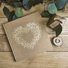 """Guestbook """"Cuore dorato"""" base avana (22 pagine)"""
