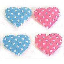 Decoro Cuore a POIS in raso adesivo rosa o azzurro (18pz)
