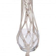 Vaso pensile in vetro e corda macramè con nappa