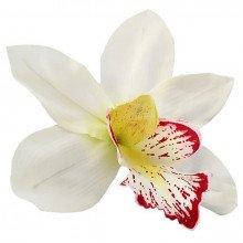 Decorazione Orchidea in stoffa Bianca grande con stelo