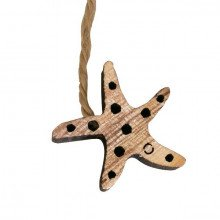 """Decorazione """"Stella Marina"""" in legno naturale con cordino (pz 12)"""