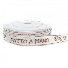 """Nastro in tessuto sable """"FATTO A MANO"""" (mm 15 x 15 mt)"""
