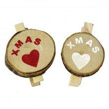 """Mollette in legno """"Ceppo"""" con scritta XMAS e Cuore"""
