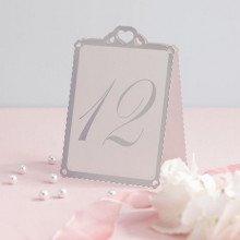 """Numeri segna-tavolo """"Classic"""" argento e bianco (12 pz)"""