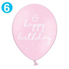 "Palloncini decorativi ""Happy Birthday"" ROSA - cm 30 (6 pz)"