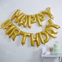 Ghirlanda di palloncini HAPPY BIRTHDAY oro foil Mylar (13 lettere)-21