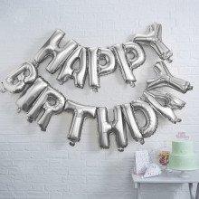 Ghirlanda di palloncini HAPPY BIRTHDAY argento foil Mylar (13 lettere)-23
