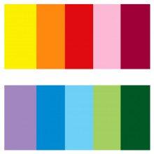 "SCATOLA 100 FOGLI carta regalo assortiti tinta unita ""Rainbow"""