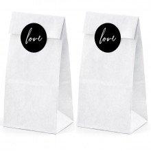 sacchettini in carta BIANCA con Etichette LOVE