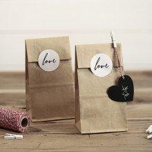 sacchettini in carta AVANA con Etichette LOVE