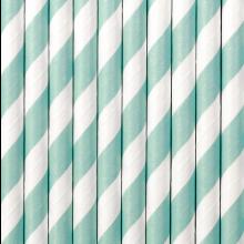 Cannucce in carta a righe AZZURRO cm 20 (10pz)