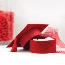 """Scatola """"TOCCO"""" in velluto rosso con coperchio e nappa-23"""