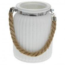 Vaso in vetro bianco con manico in corda