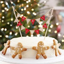 "Cake topper ""Mini Bunting Merry Christmas"" in cotone"