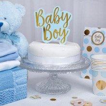 """Cake topper """"BABY BOY"""" azzurro e oro"""