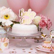 "Cake topper ""BABY GIRL"" rosa e oro"