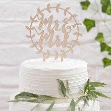 """Cake topper rotondo """"MR & MRS"""" in legno"""