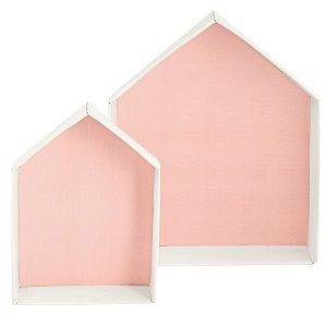 Casetta in cartone con fondo rosa _ due dimensioni