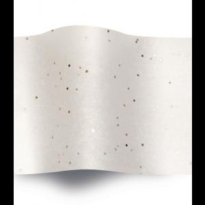 Carta velina Bianca glitter Argento  cm 50x76 (24 fogli)