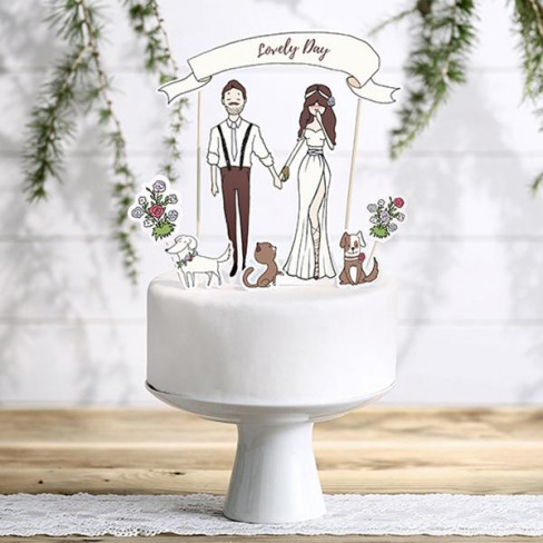 """Cake topper """"Lovely Day"""" con soggetti in carta"""