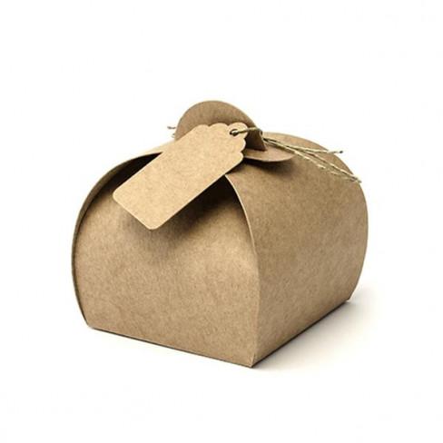 Scatola Tortina in cartoncino Kraft con tag e cordino (10pz)
