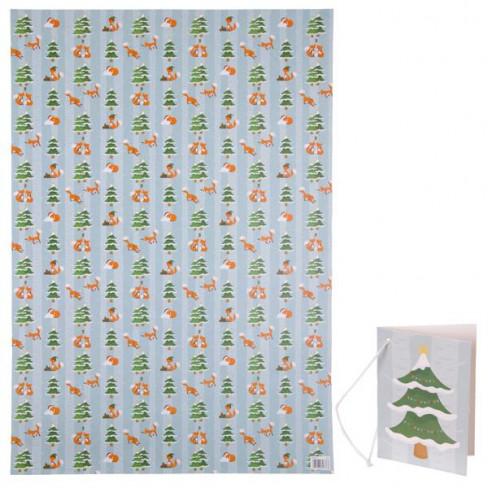 Foglio di carta regalo con tag in cartoncino : VOLPE NATALIZIA
