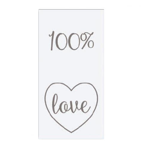 """Etichette in foglio in carta bianca """"100% LOVE"""""""