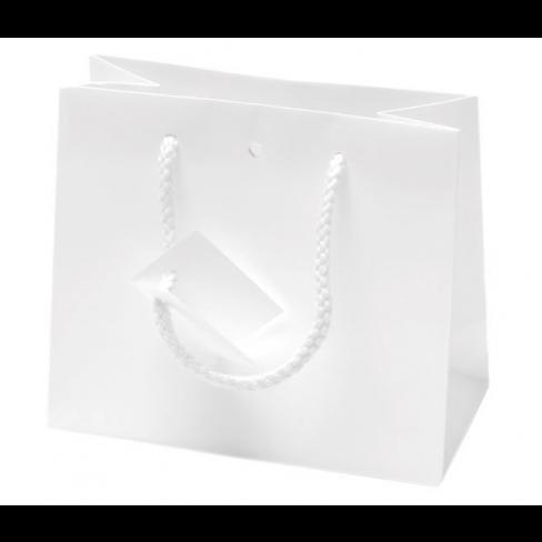 Shopping bags BIANCHE con tags, manici in corda e foro passa-nastro (10pz)