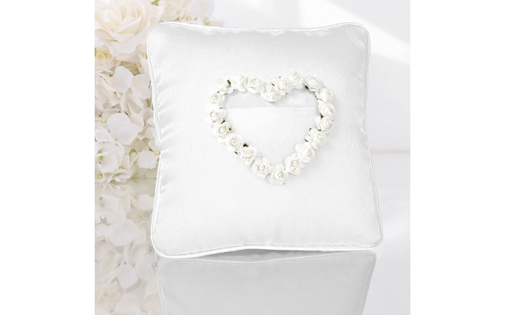 Cuscino Portafedi A Cuore.Cuscino Porta Fedi Cuore Di Rose Bianche Quadrato
