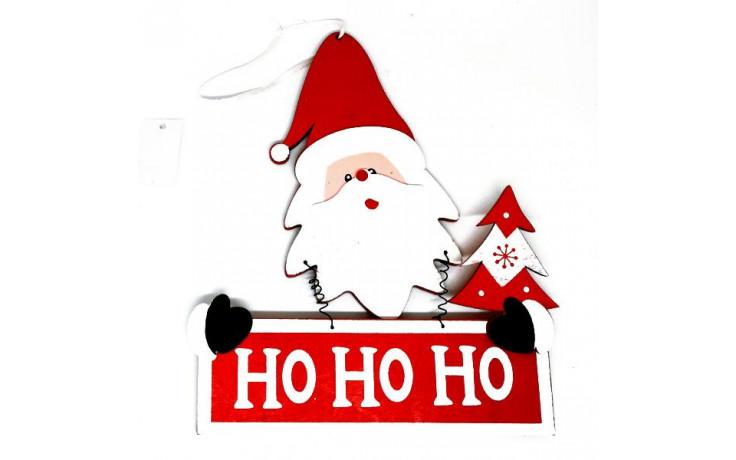 Babbo Natale Ho Ho Ho.Decoro Da Porta In Legno Babbo Natale Ho Ho Ho
